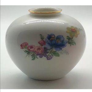 Vintage Furstenberg Short Floral Vase Gold Rim